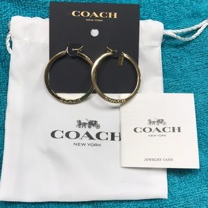 Coach Goldtone/Purple Hoop Earrings